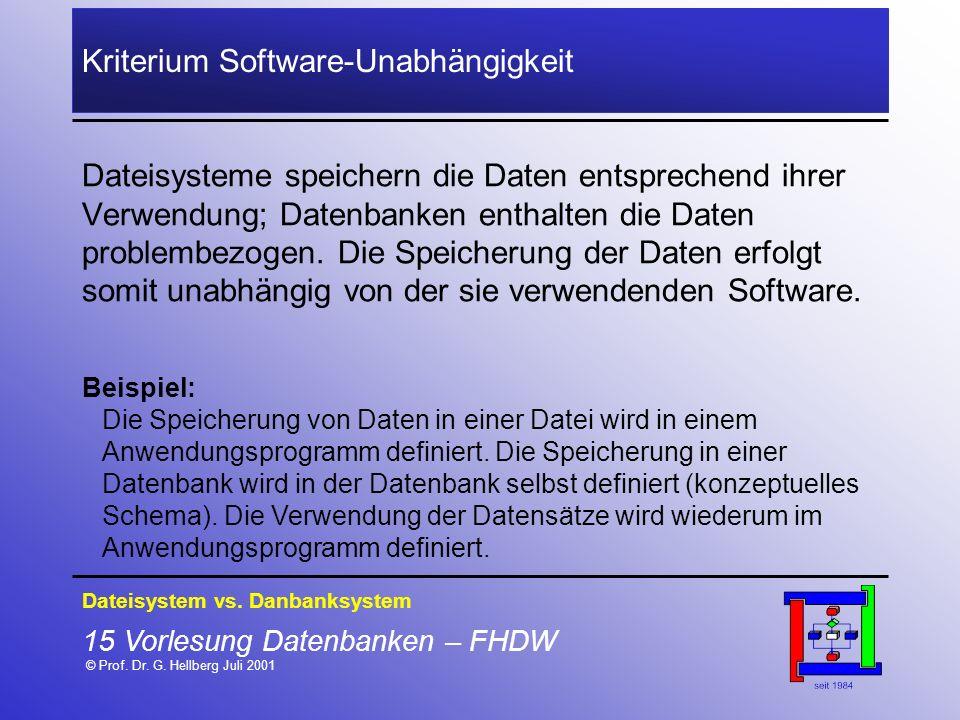 Kriterium Software-Unabhängigkeit