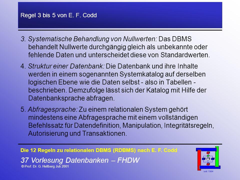 37 Vorlesung Datenbanken – FHDW © Prof. Dr. G. Hellberg Juli 2001