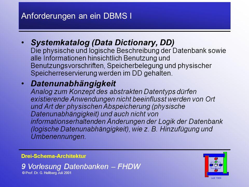 Anforderungen an ein DBMS I