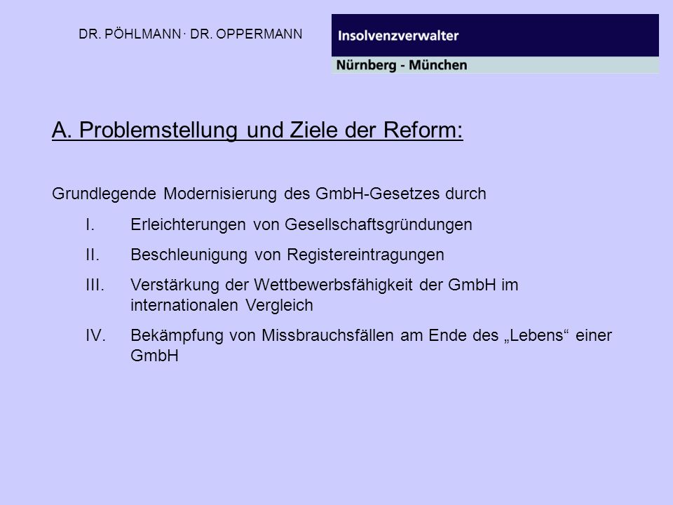 A. Problemstellung und Ziele der Reform: