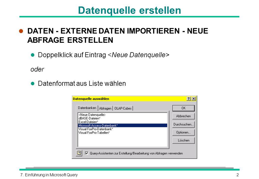 Datenquelle erstellen