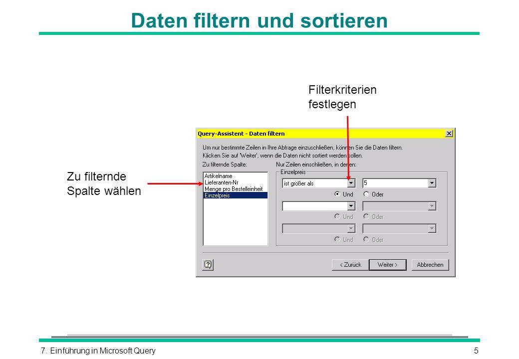 Daten filtern und sortieren