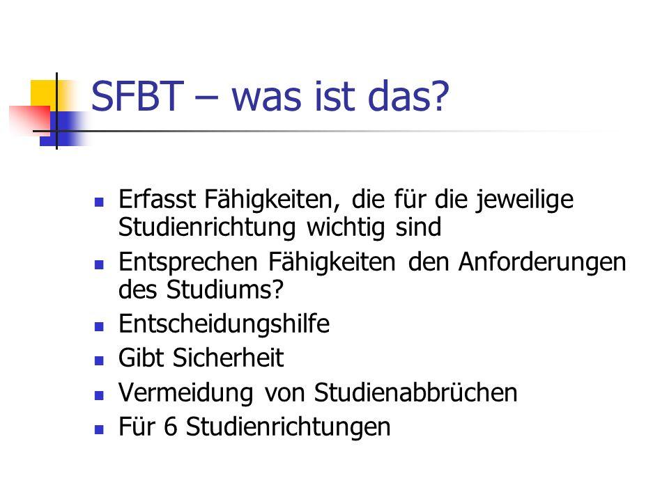 SFBT – was ist das Erfasst Fähigkeiten, die für die jeweilige Studienrichtung wichtig sind. Entsprechen Fähigkeiten den Anforderungen des Studiums