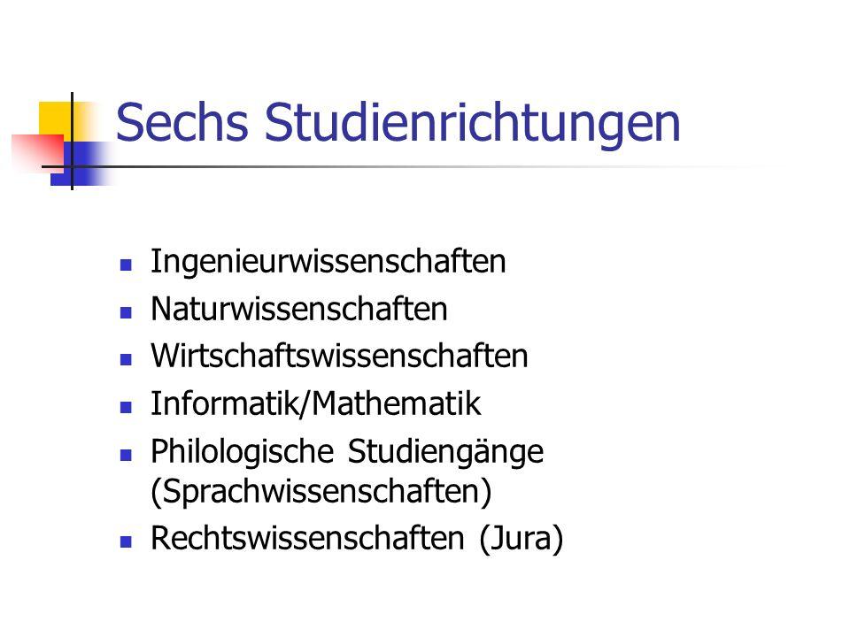 Sechs Studienrichtungen