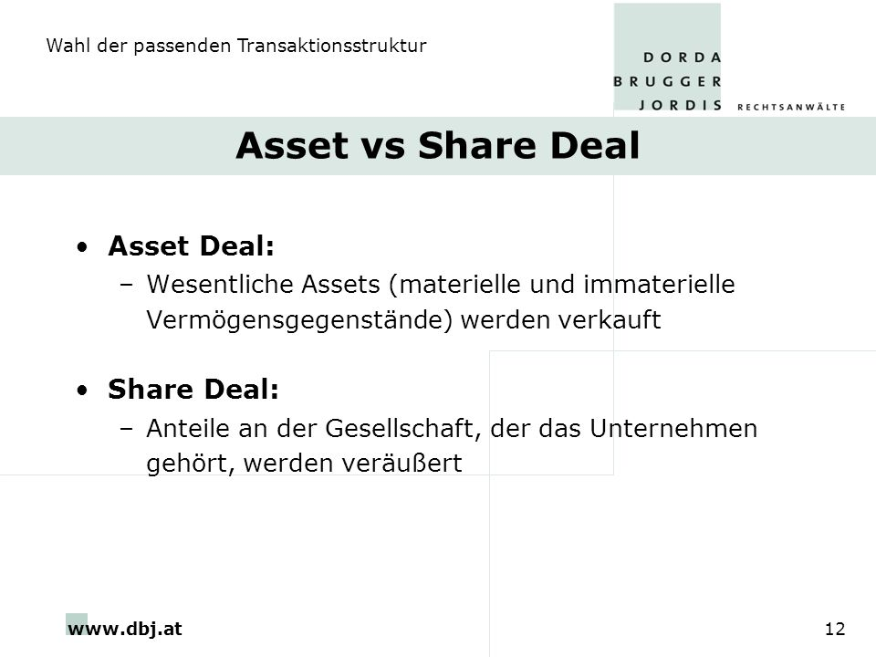 Asset vs Share Deal Asset Deal: Share Deal: