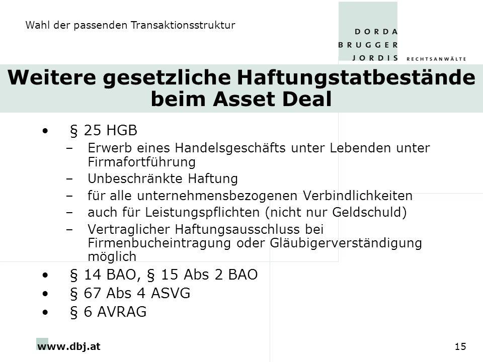 Weitere gesetzliche Haftungstatbestände beim Asset Deal
