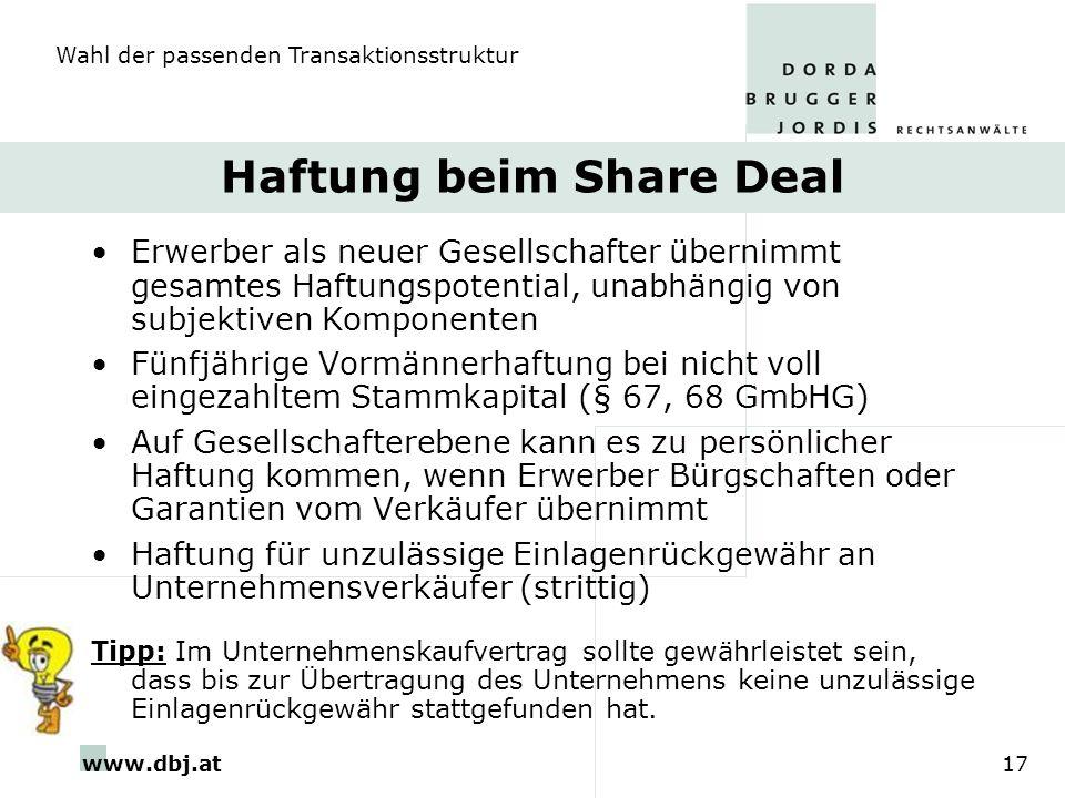 Haftung beim Share Deal