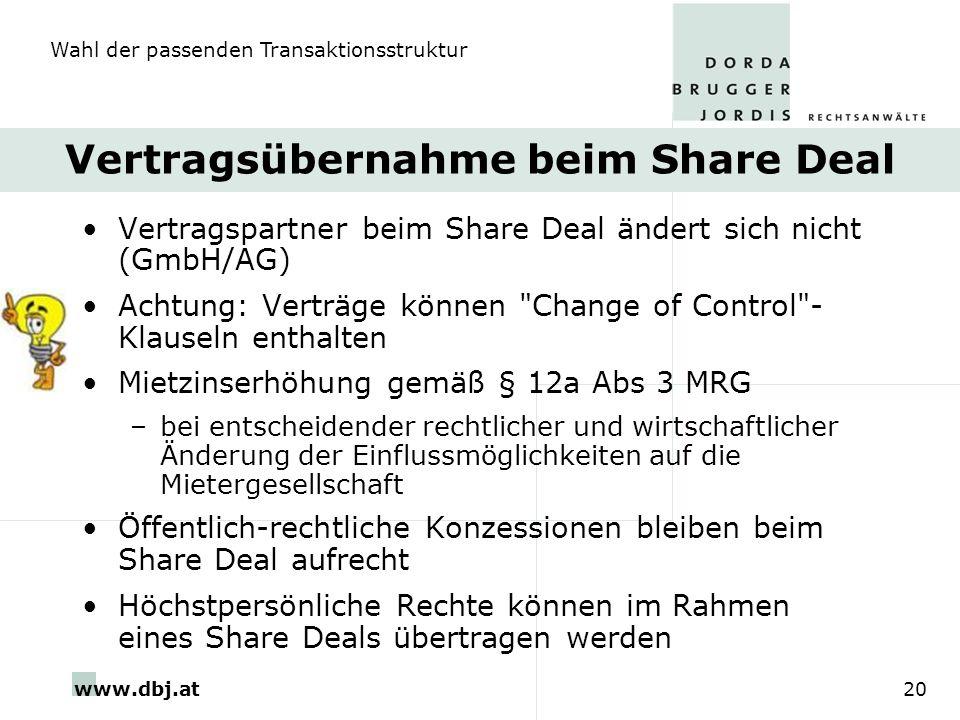 Vertragsübernahme beim Share Deal