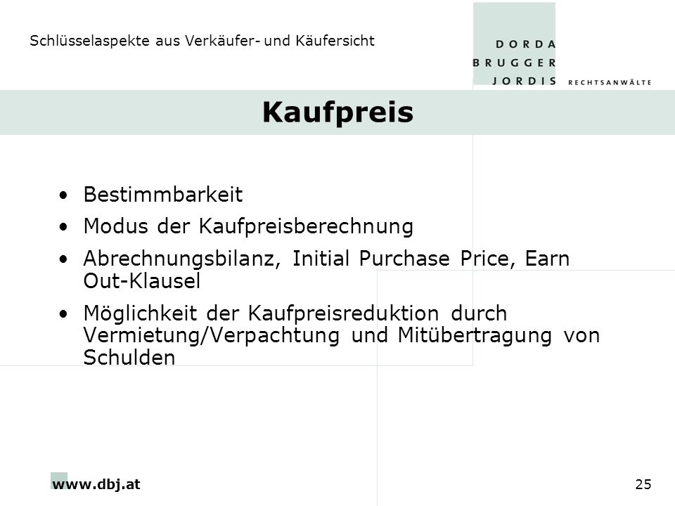 Kaufpreis Bestimmbarkeit Modus der Kaufpreisberechnung