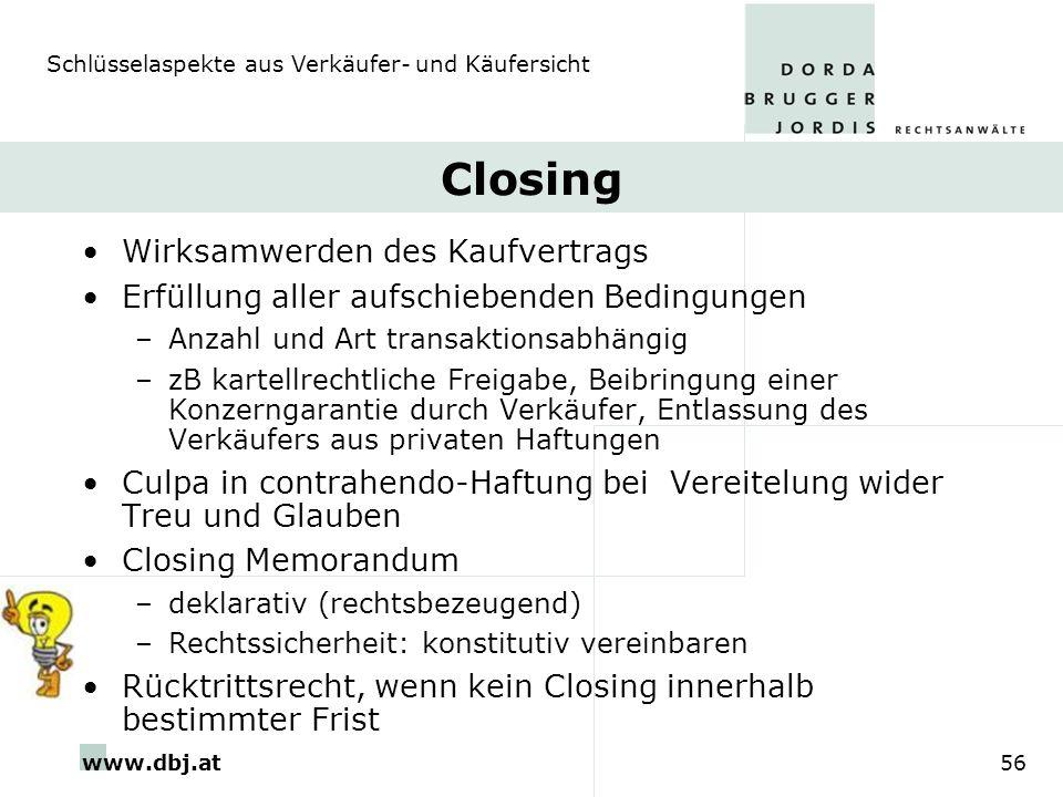 Closing Wirksamwerden des Kaufvertrags