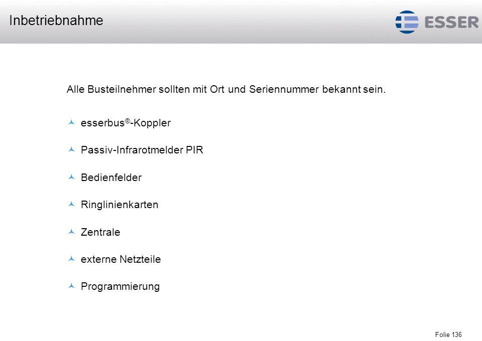 Inbetriebnahme Alle Busteilnehmer sollten mit Ort und Seriennummer bekannt sein. esserbus®-Koppler.