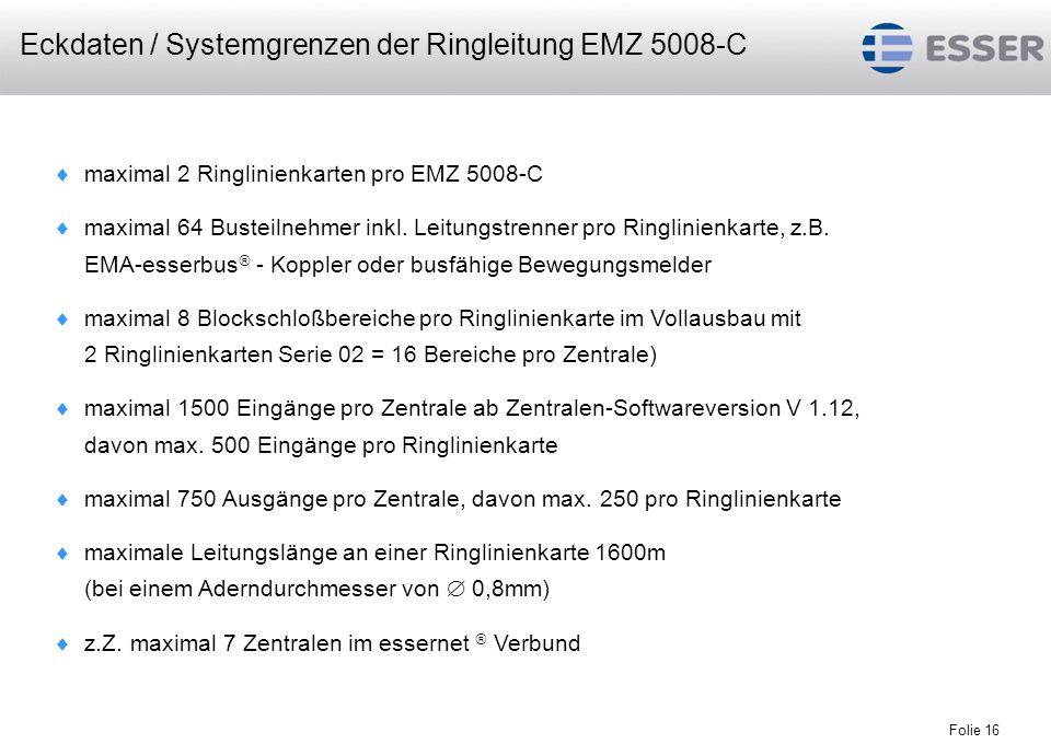 Eckdaten / Systemgrenzen der Ringleitung EMZ 5008-C
