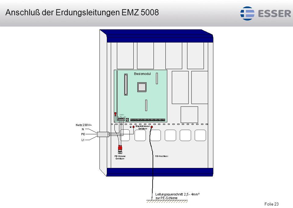 Anschluß der Erdungsleitungen EMZ 5008