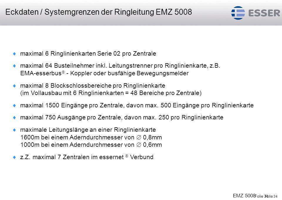 Eckdaten / Systemgrenzen der Ringleitung EMZ 5008