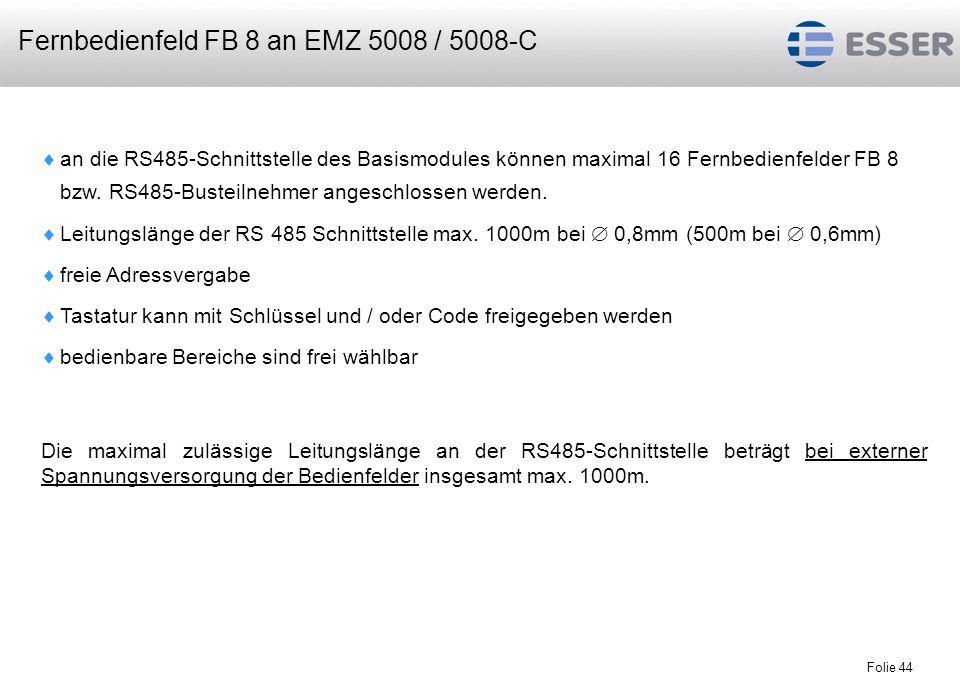 Fernbedienfeld FB 8 an EMZ 5008 / 5008-C