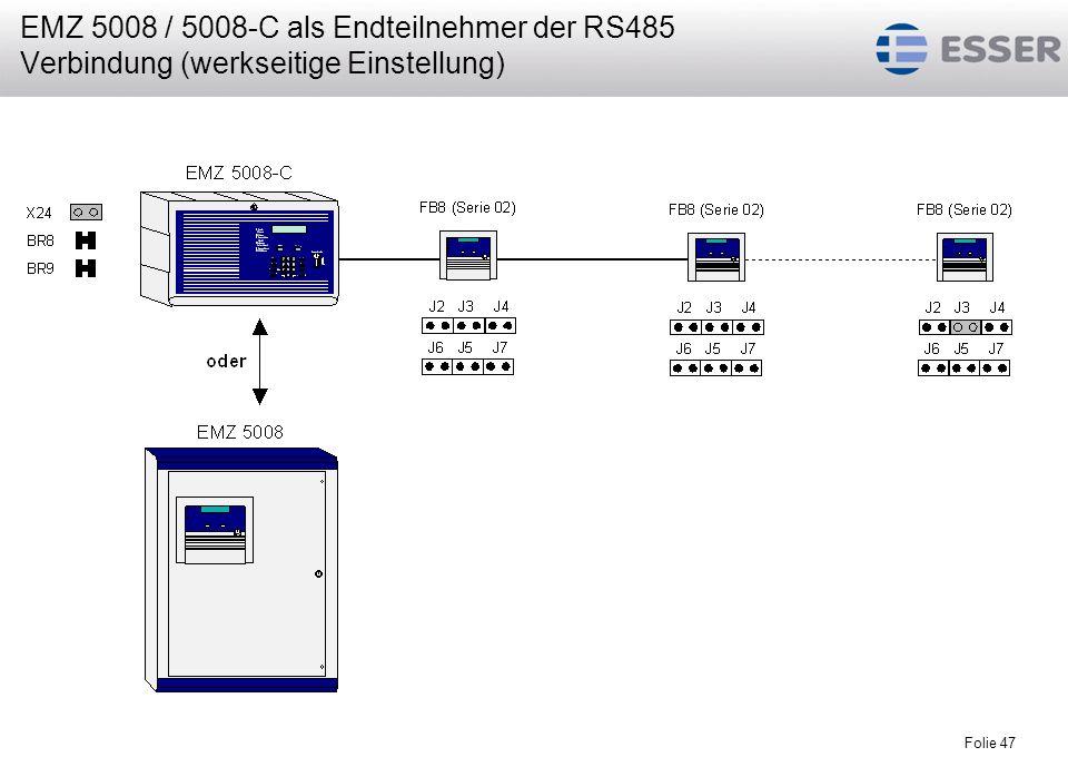 EMZ 5008 / 5008-C als Endteilnehmer der RS485 Verbindung (werkseitige Einstellung)