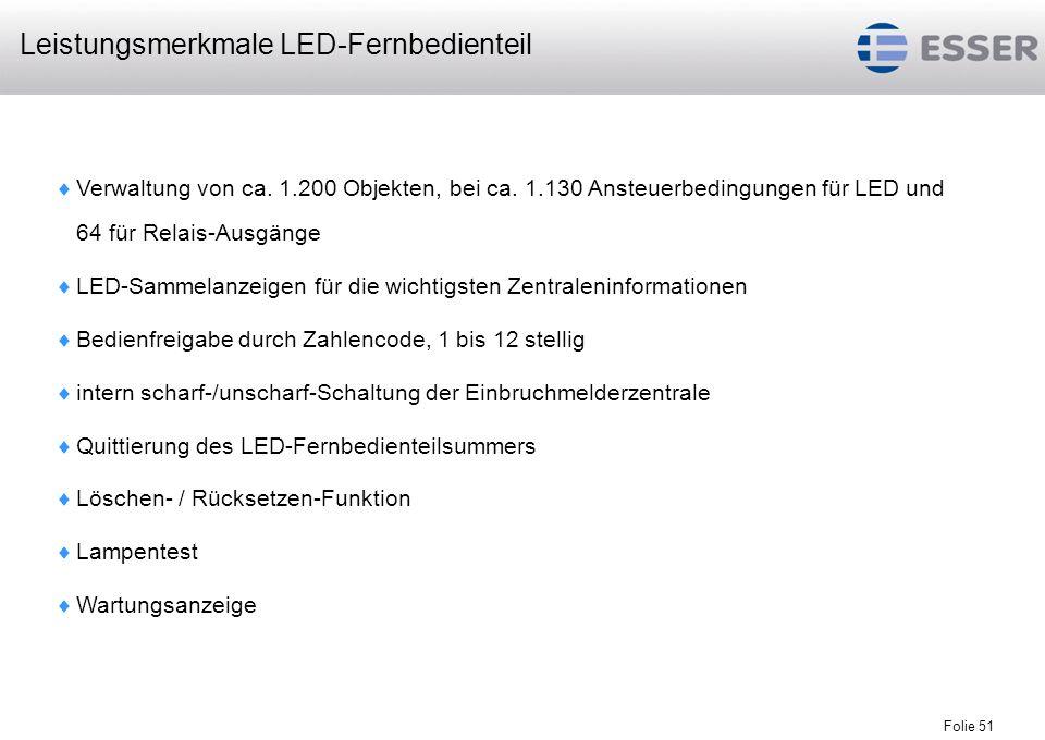 Leistungsmerkmale LED-Fernbedienteil