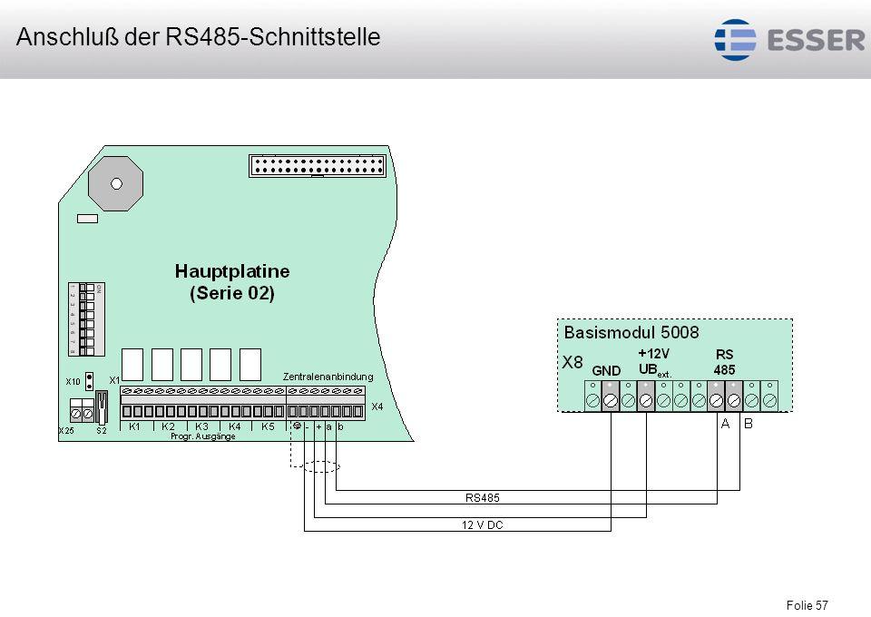 Anschluß der RS485-Schnittstelle