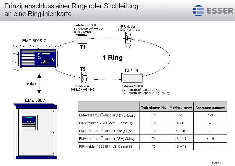 Prinzipanschluss einer Ring- oder Stichleitung an eine Ringlinienkarte