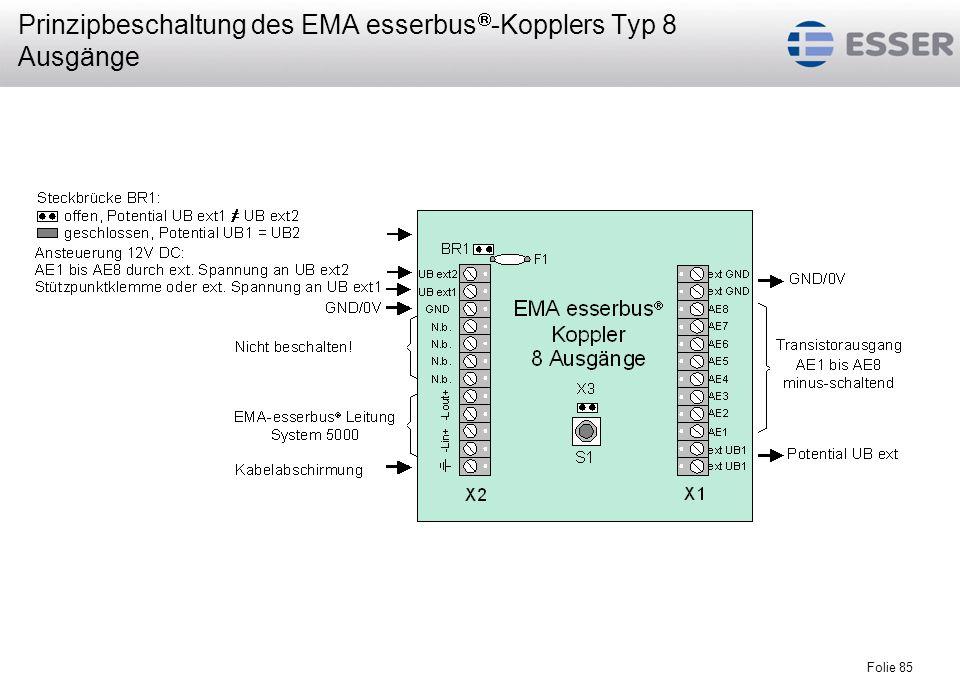 Prinzipbeschaltung des EMA esserbus-Kopplers Typ 8 Ausgänge
