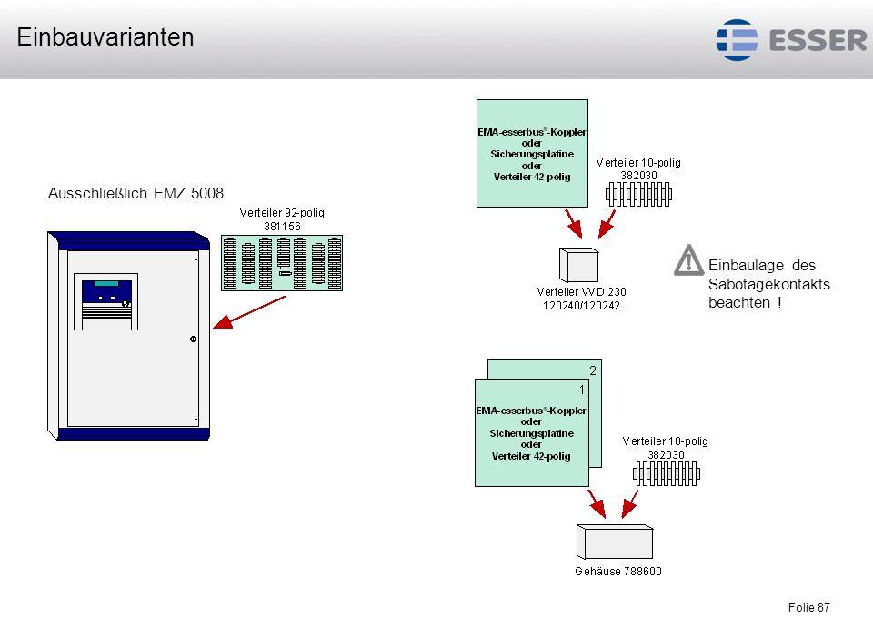 Einbauvarianten Ausschließlich EMZ 5008 Einbaulage des