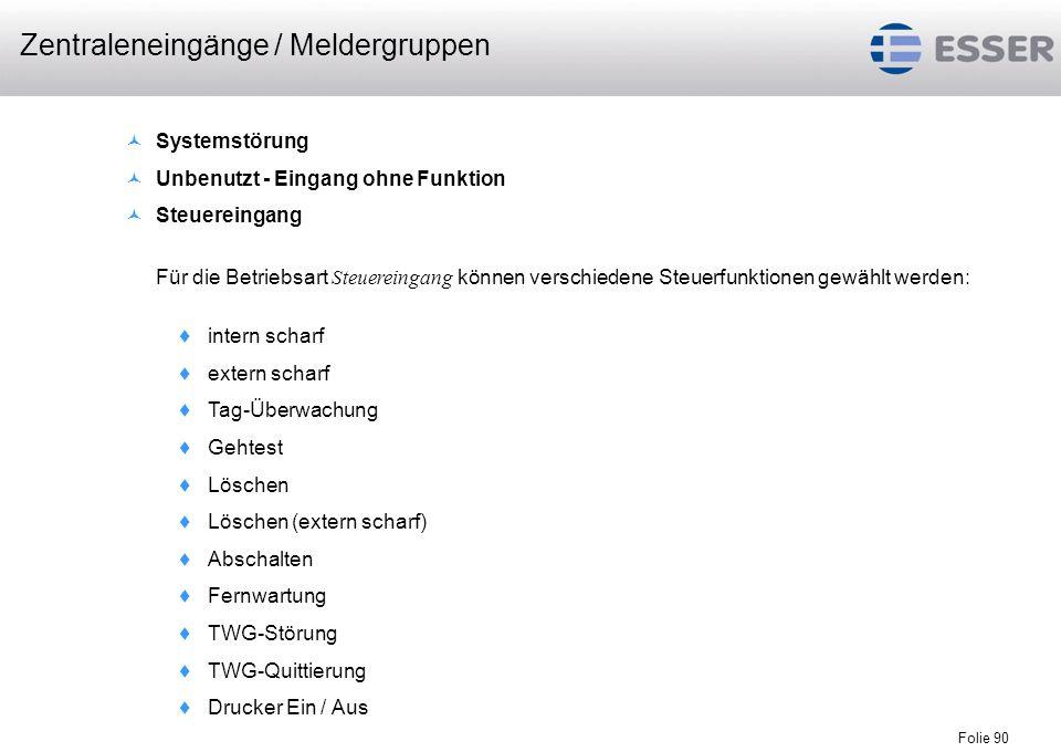 Zentraleneingänge / Meldergruppen
