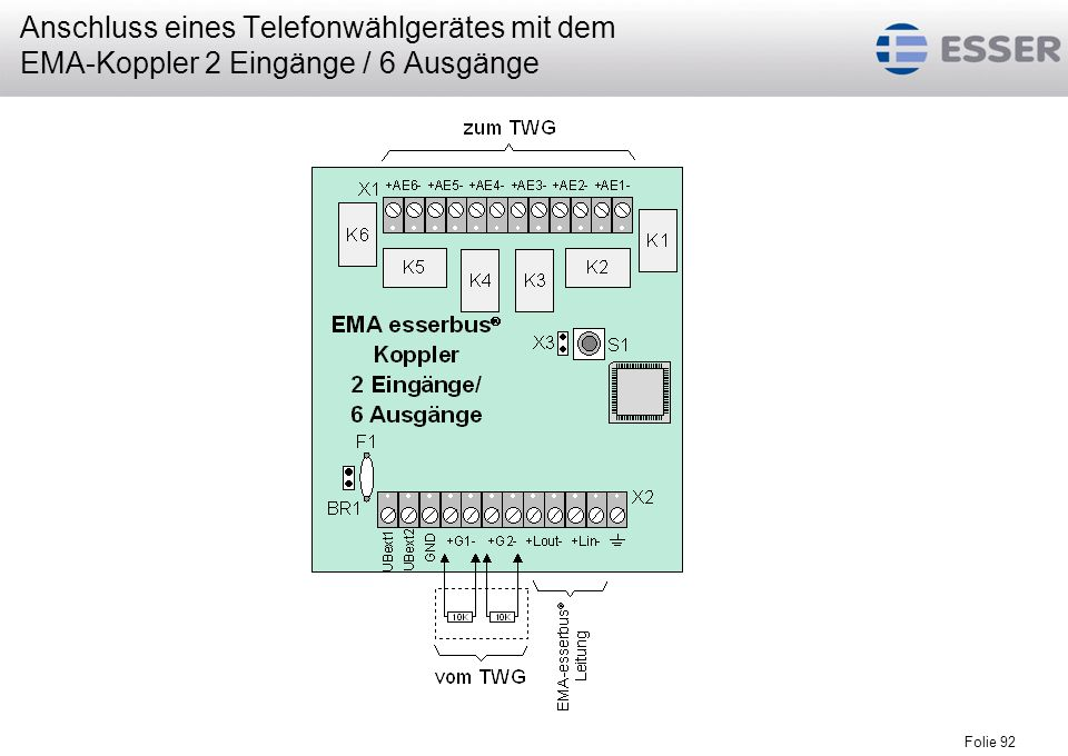 Anschluss eines Telefonwählgerätes mit dem EMA-Koppler 2 Eingänge / 6 Ausgänge