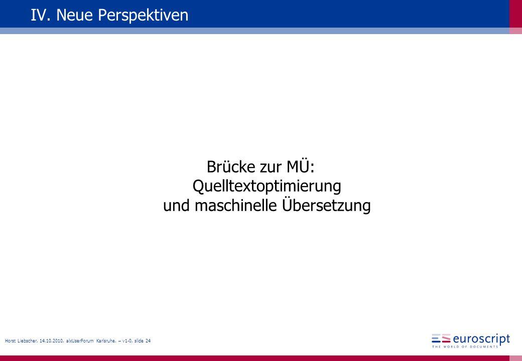 Brücke zur MÜ: Quelltextoptimierung und maschinelle Übersetzung