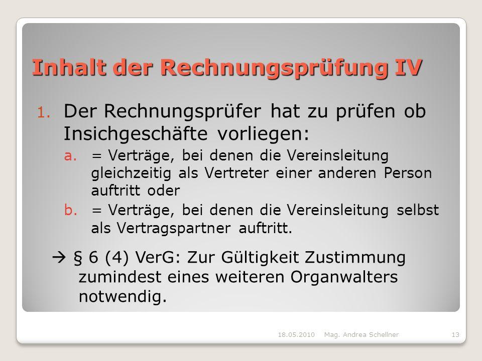 Inhalt der Rechnungsprüfung IV
