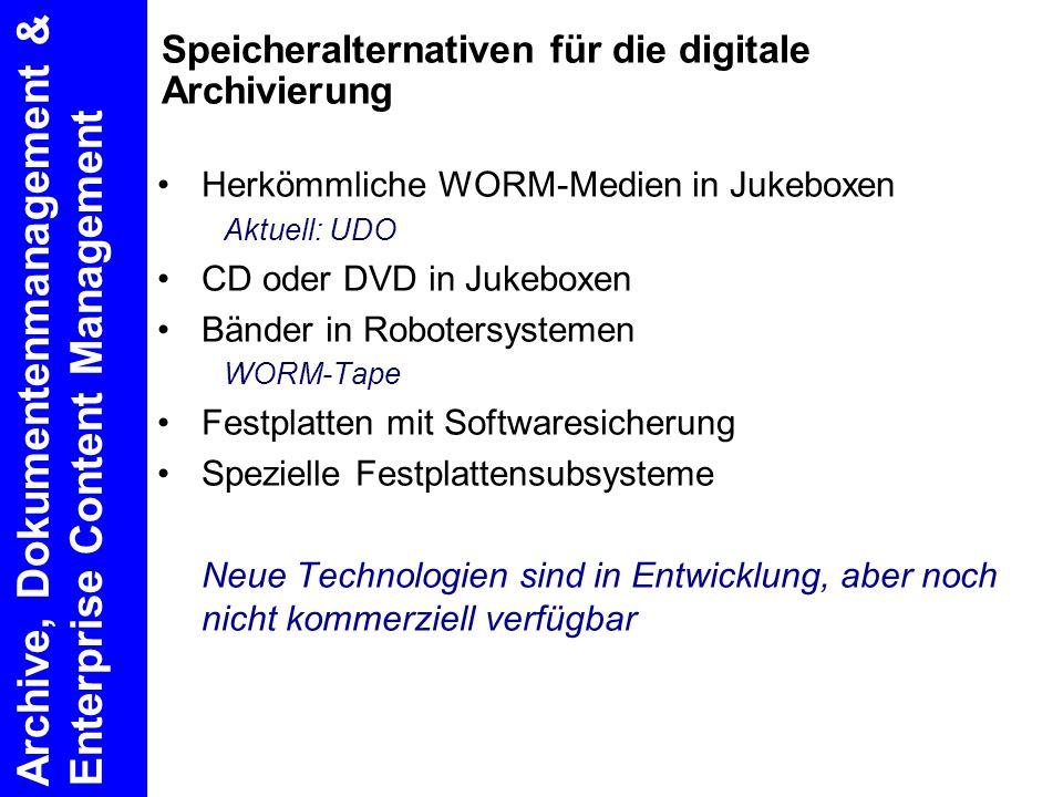 Speicheralternativen für die digitale Archivierung