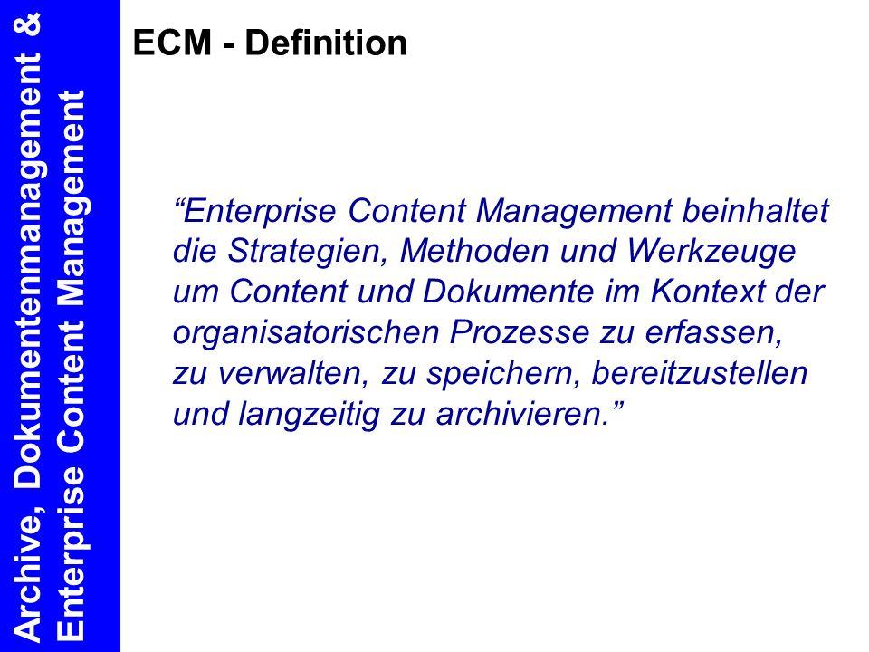 Archive, Dokumentenmanagement & Enterprise Content Management