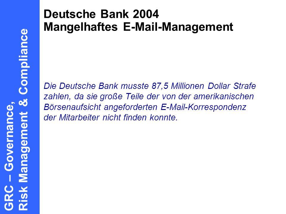 Deutsche Bank 2004 Mangelhaftes E-Mail-Management