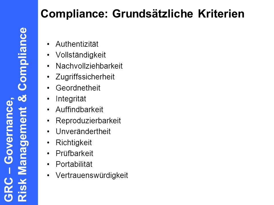 Compliance: Grundsätzliche Kriterien