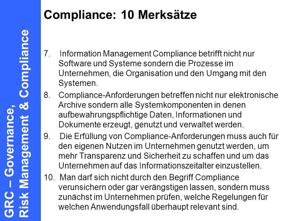 Compliance: 10 Merksätze