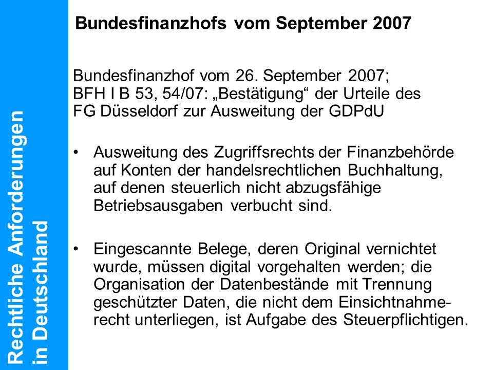 Bundesfinanzhofs vom September 2007
