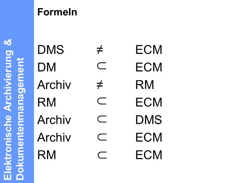 DMS ≠ ECM DM ECM Archiv ≠ RM ∩ RM ECM Archiv DMS Archiv ECM RM ECM ∩ ∩