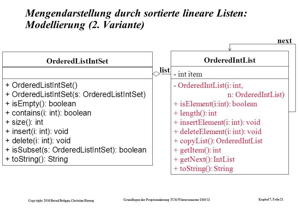 Mengendarstellung durch sortierte lineare Listen: Modellierung (2