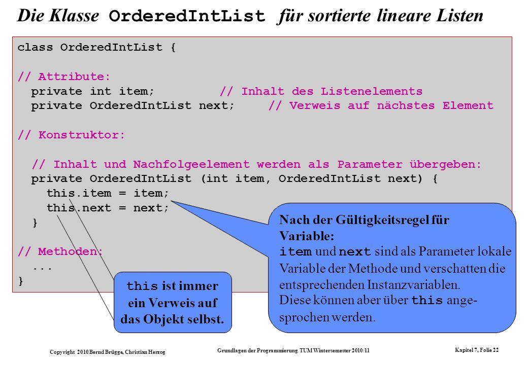 Die Klasse OrderedIntList für sortierte lineare Listen