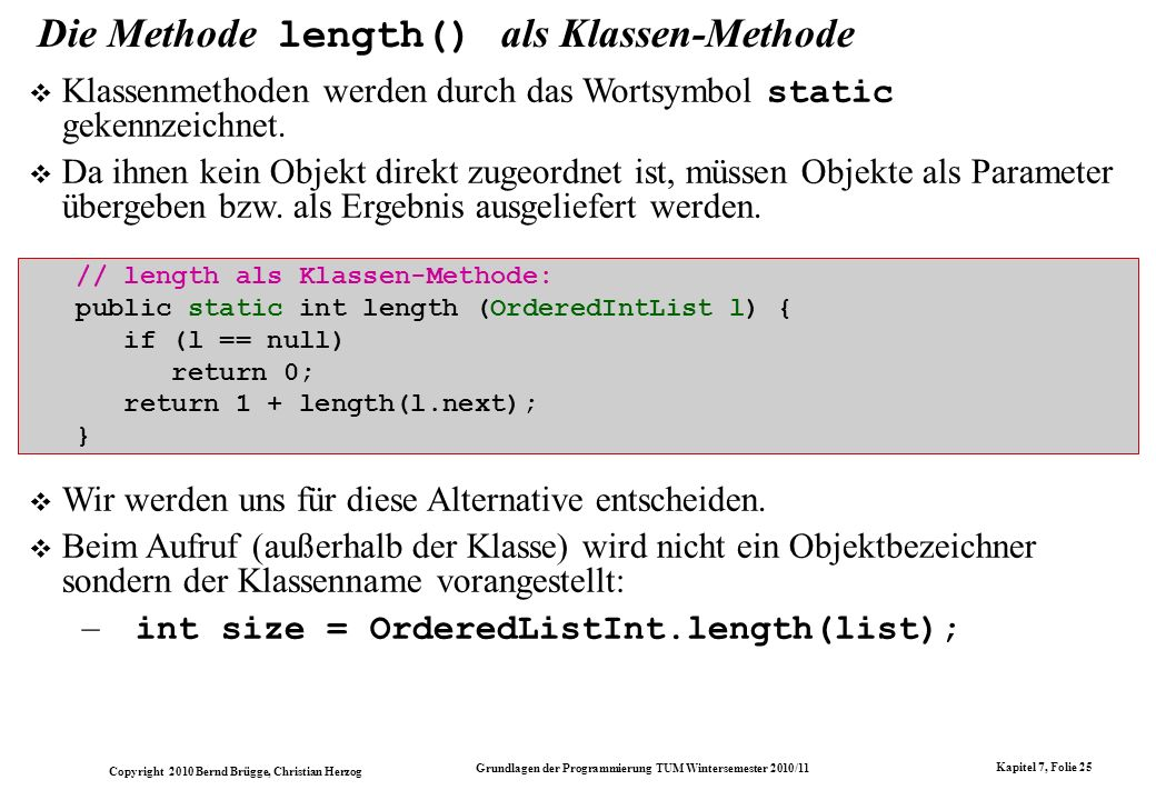 Die Methode length() als Klassen-Methode