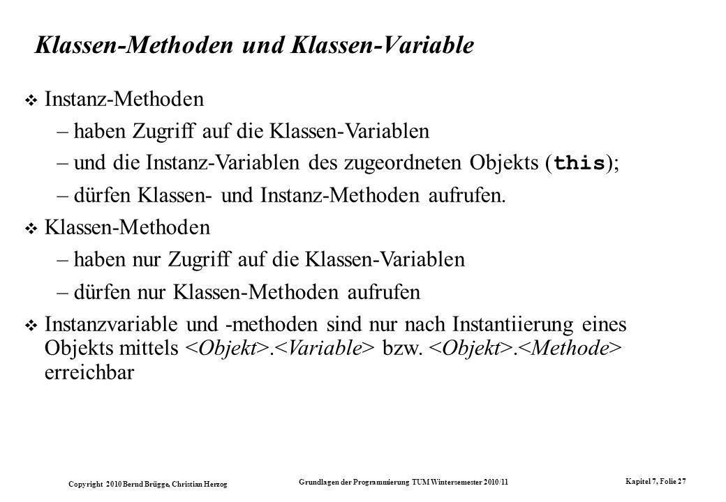 Klassen-Methoden und Klassen-Variable