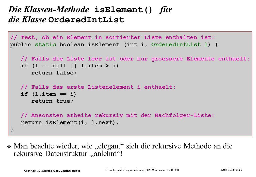 Die Klassen-Methode isElement() für die Klasse OrderedIntList