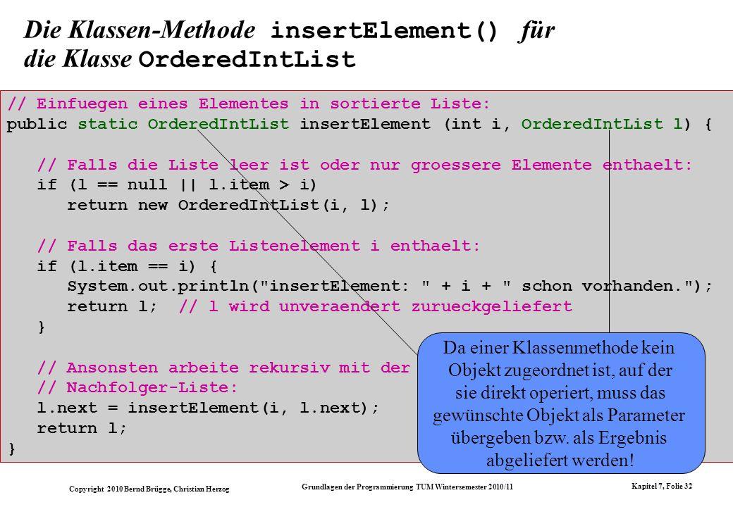 Die Klassen-Methode insertElement() für die Klasse OrderedIntList