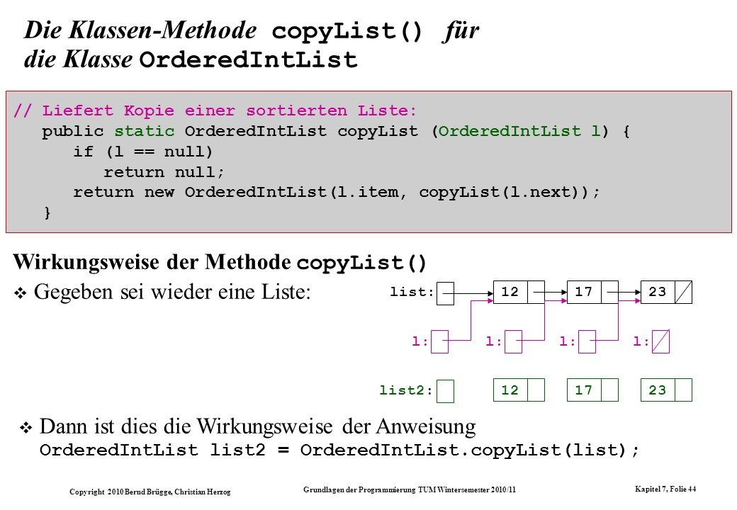 Die Klassen-Methode copyList() für die Klasse OrderedIntList