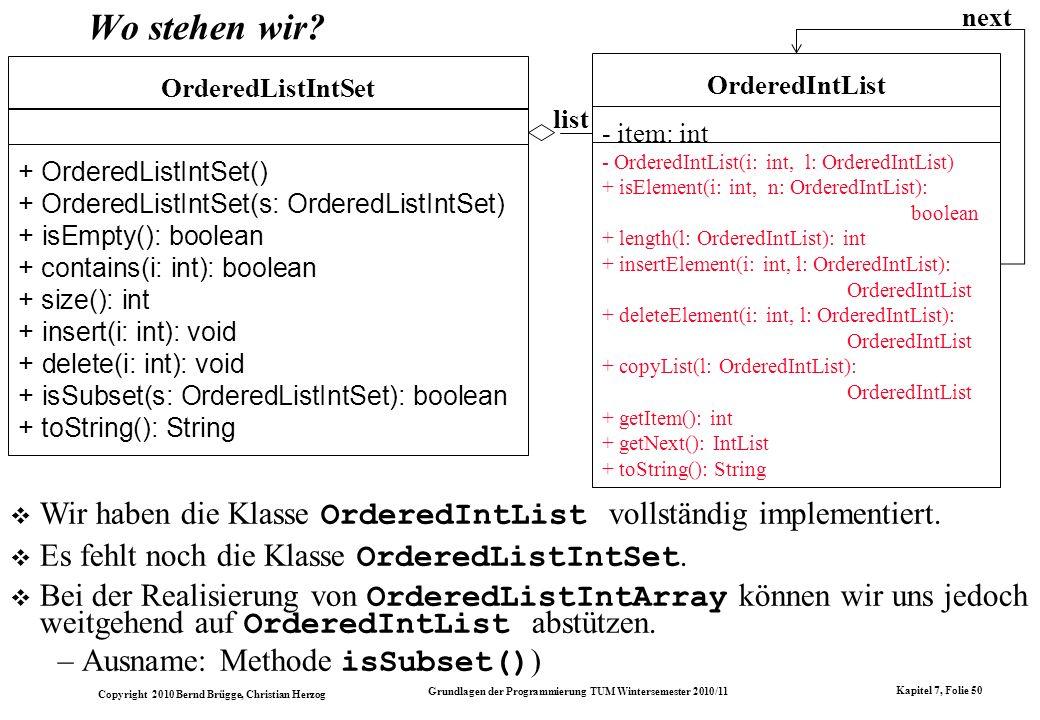 list OrderedListIntSet. + OrderedListIntSet() + OrderedListIntSet(s: OrderedListIntSet) + isEmpty(): boolean.