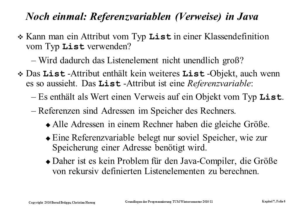 Noch einmal: Referenzvariablen (Verweise) in Java