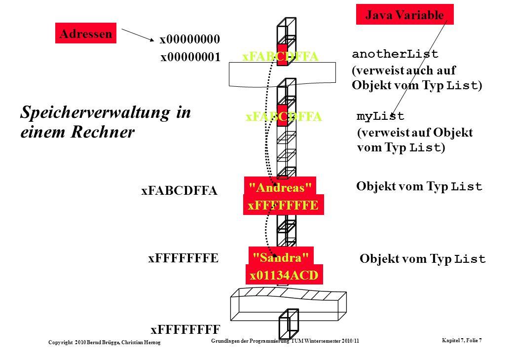 Speicherverwaltung in einem Rechner
