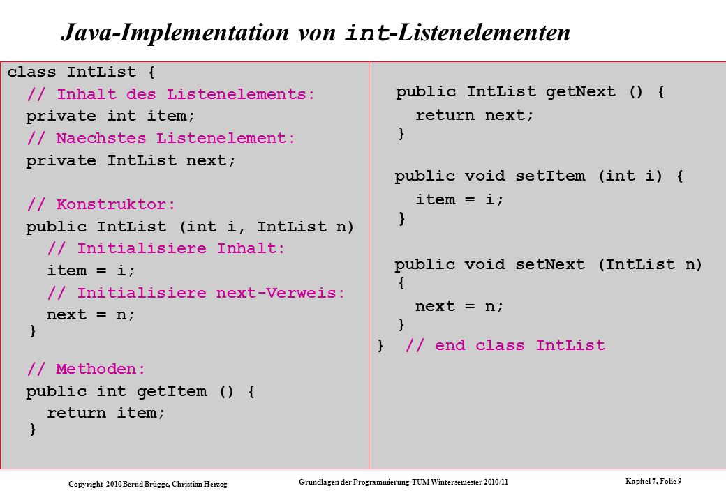 Java-Implementation von int-Listenelementen