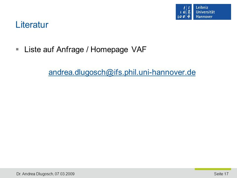 Literatur Liste auf Anfrage / Homepage VAF