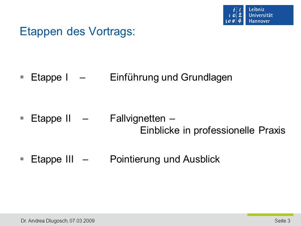 Etappen des Vortrags: Etappe I – Einführung und Grundlagen