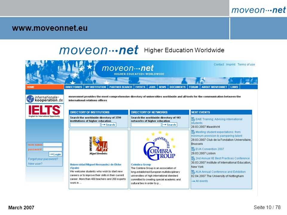 www.moveonnet.eu Higher Education Worldwide